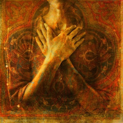 A womans's hands crossed over her chest. Photo based illustration.